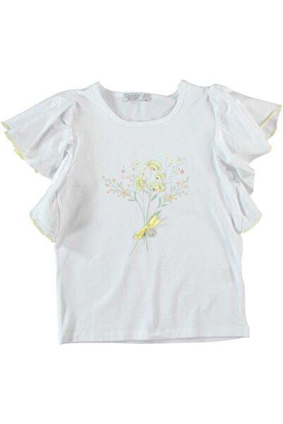 Monna Rosa Kız Çocuk Beyaz T-shirt