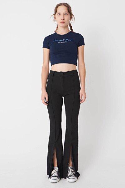 Addax Kadın Siyah Yırtmaç Detaylı Pantolon Pn0440 - İ1 Adx-0000023128