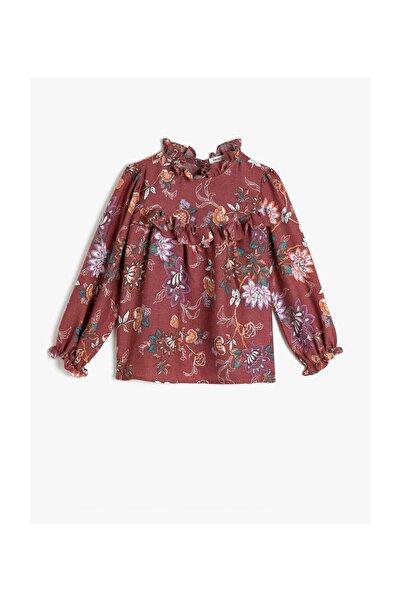 Koton Kız Çocuk Bordo Çiçek Desenli Uzun Kollu Bluz