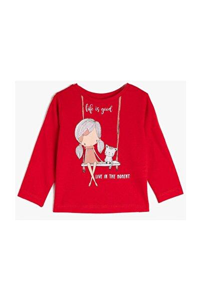 Koton Kids Kırmızı Kız Bebek T-Shirt