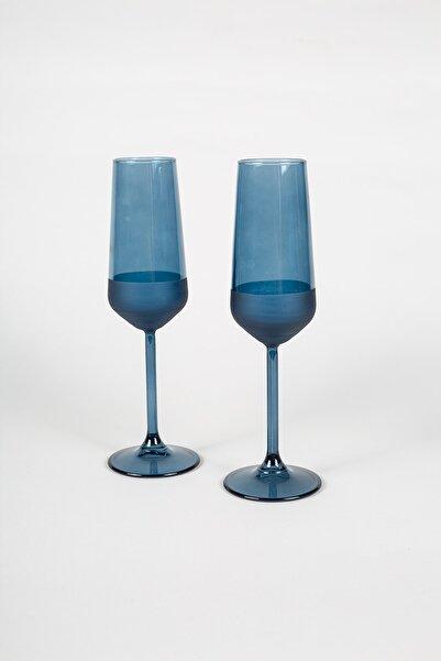 Rakle Matte 2'li Şampanya Kadehi Seti Mavi 195 cc