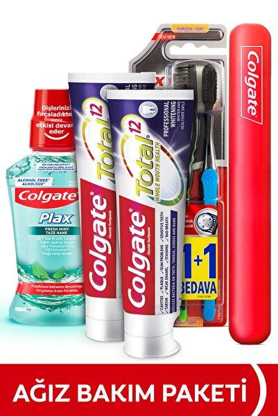Colgate Ağız Bakım Paketi Total Profesyonel Beyazlık Beyazlatıcı Diş Macunu,Yumuşak Diş Fırçası ve Gargara