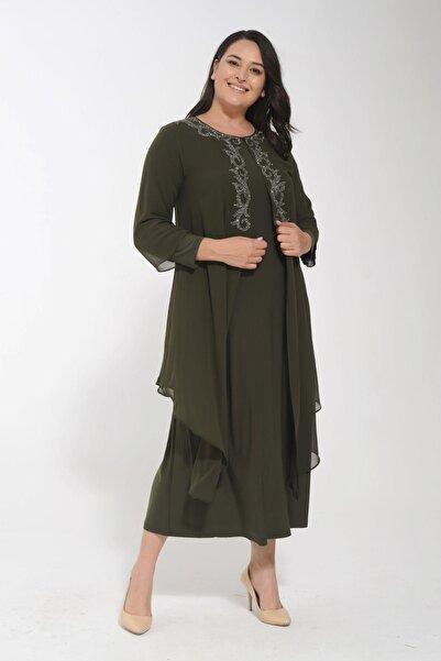POTİMOR Kadın Haki Büyük Beden Önü Serpme Yapıştırma Taşlı Şifon Elbise