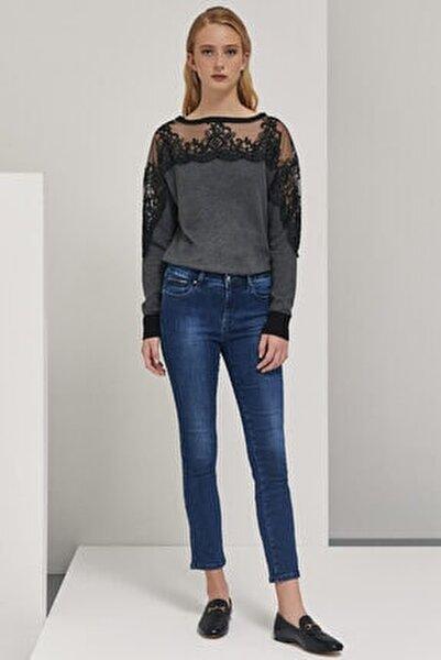 Kadın Mavi Cep Detaylı Skinny Fit  Pantolon