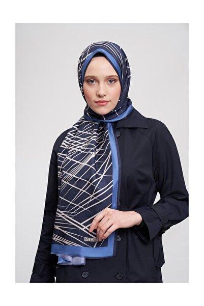Mizalle Kadın Mavi Çizgili İpek Şal  19sbmz1010002