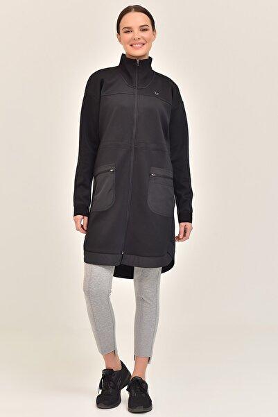 bilcee Siyah Kadın Uzun Ceket GS-1521