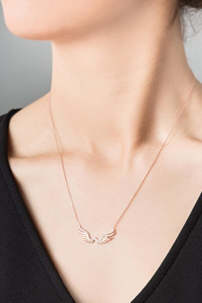 Elika Silver Kadın Melek Kanadı Model Rose Kaplama 925 Ayar Gümüş Kolye