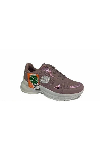 Almera Ayakkabı Kadın Pembe Beyaz Kalın Taban Sneaker