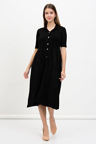 Mossta Kadın Siyah Düğmeli Triko Elbise