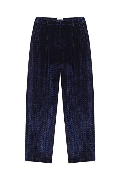 Twist Kadın Mavi Kadife form pantolon TW6200003083