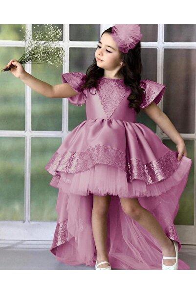 Riccotarz Kız Çocuk Pembe Kraliçe Kuyruklu Tütülü Abiye