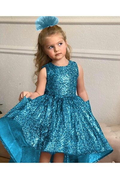 Riccotarz Kız Çocuk Mavi  Sıfır Kol Kuyruklu Abiye