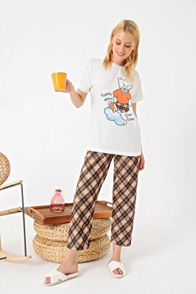 Trend Alaçatı Stili Kadın Turuncu Bisiklet Yaka Baskılı Pijama Takımı ALC-X4941