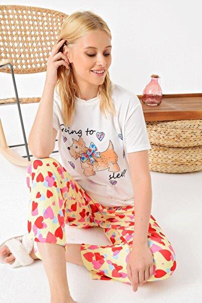 Trend Alaçatı Stili Kadın Sarı Kalp Baskılı Örme Pijama Takım ALC-X4942