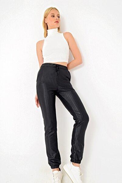 Trend Alaçatı Stili Kadın Siyah Deri Görünümlü Pantolon ALC-X4909