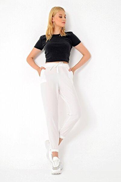 Trend Alaçatı Stili Kadın Ekru Polar Pantolon ALC-X4910