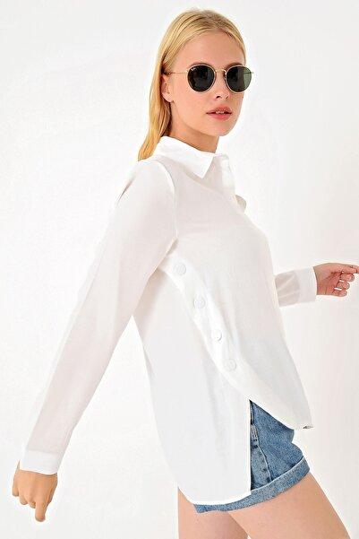 Trend Alaçatı Stili Kadın Beyaz Yanı Çıtçıtlı Dokuma Gömlek MDS-174-GML