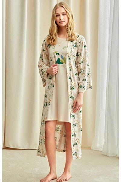 Catherine's 1751 Çiçek Desenli Uzun Sabahlıklı Pijama Takımı