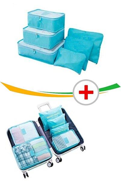 Vivyan 2 Adet Bavul Içi Düzenleyici Organizer 6 Lı Set - Mavi