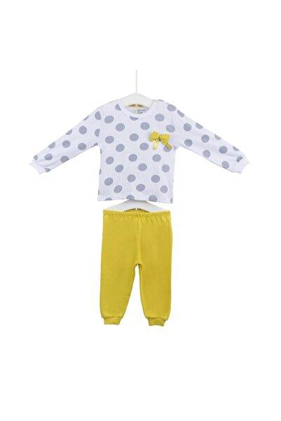 """Aziz Bebe 9428 Kız Çocuk """"puan"""" Baskılı Fiyonklu Penye Pijama Takımı"""