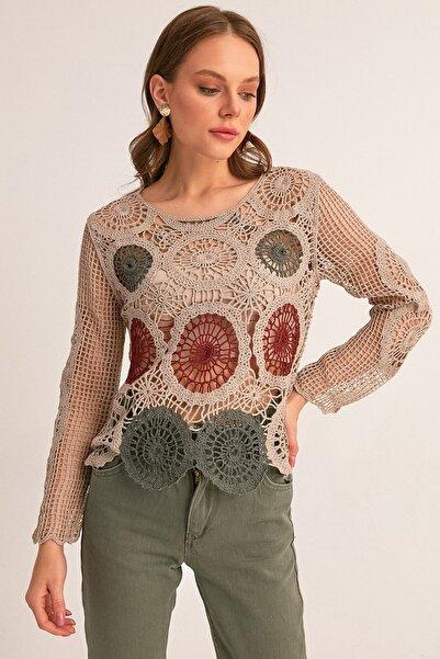 Fulla Moda Kadın Kahverengi Renkli Örgü Bluz