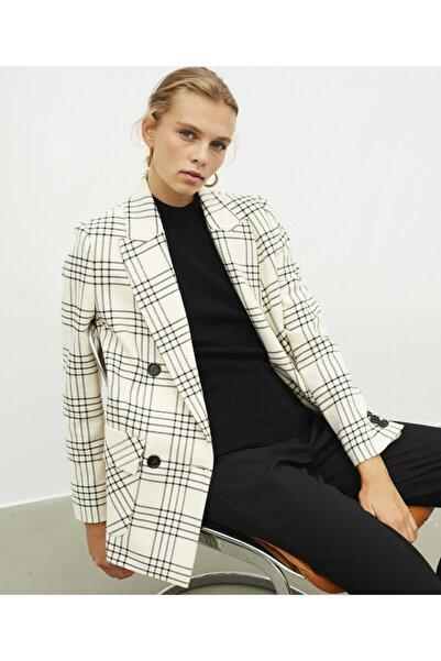 İpekyol Kadın Ekru Ekose Desen Ceket