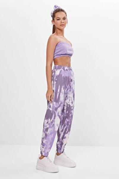 Kadın Mor Batik Desenli Jogging Fit Pantolon 05226831