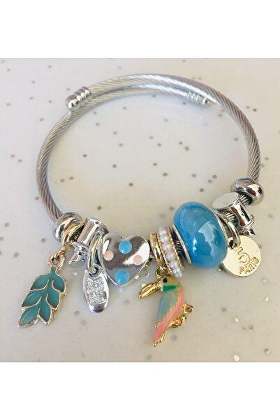 Pandora Kadın Mavi Karga Charmlı Gümüş Tarzı Şık Bileklik