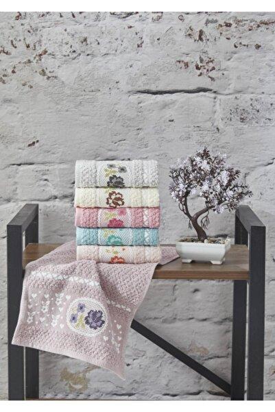 Şengil Ev Tekstil Pembe Kaneviçe Nakışlı  Mutfak Havlu Seti 6'lı