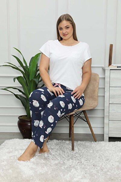 modalove Kadın Lacivert Desenli Mevsimlik Büyük Beden Pijama Altı