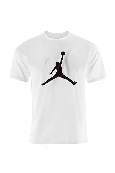 Okeanos Erkek Beyaz Jordan Baskılı Basketbol Tshirt
