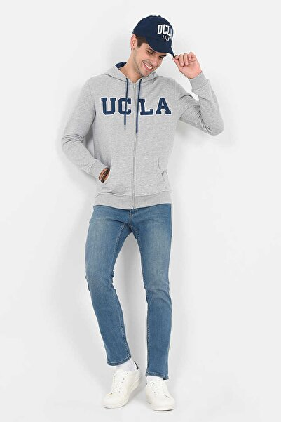 Erkek Gri Standard Fit - Zip Sweatshirt DORIS