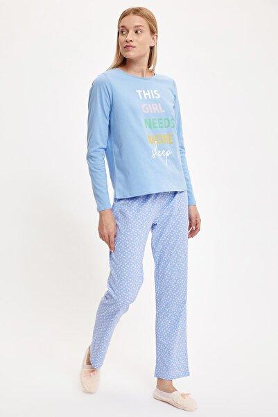 DeFacto Fit Kadın Blue Slogan Baskılı Uzun Kollu Baskılı Pijama Takımı S4922AZ20AU