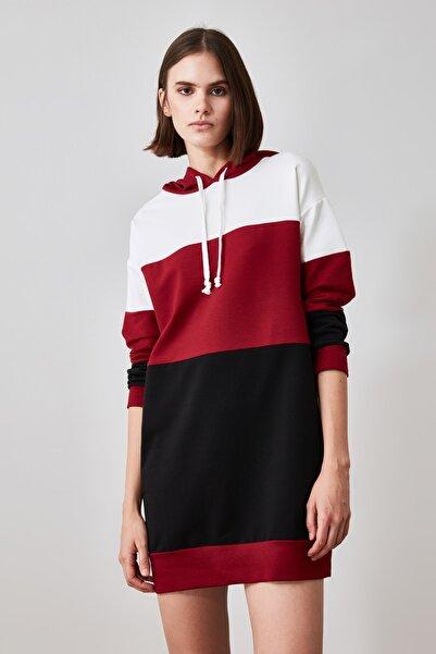 TRENDYOLMİLLA Bordo Colorblock Örme Elbise TWOAW21EL1289