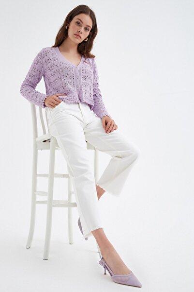Nisan Triko Kadın Ekru Geniş Kesim Kot Pantolon