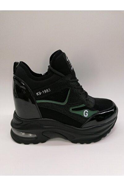 Guja Kadın Air Tabanlı Fermuarlı Gizli Dolgu Siyah Bayan Sneaker
