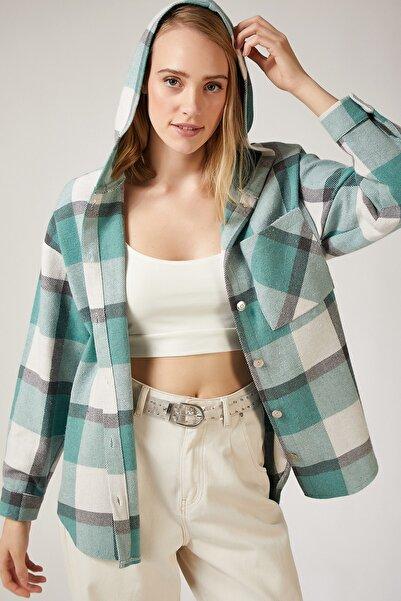 Happiness İst. Kadın Çağla Yeşili Oduncu Kapüşonlu Ceket Gömlek DD00745