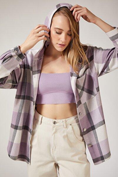 Happiness İst. Kadın Lila Oduncu Kapüşonlu Ceket Gömlek DD00745