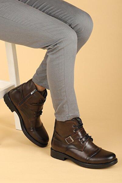 Ayakland Erkek Kahverengi Termo Taban Içi Kürklü Fermuarlı Bot Ayakkabı 02 Cilt