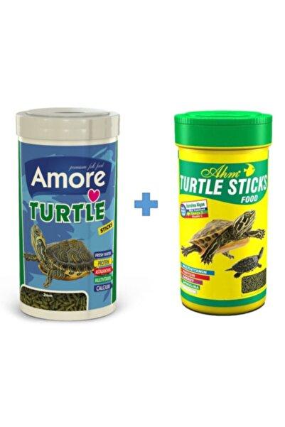 AMORE Turtle Sticks 250ml + Ahm Turtle 250ml Vitamin Kalsiyum Mineral Plus Sürüngen Ve Kaplumbağa Yemi