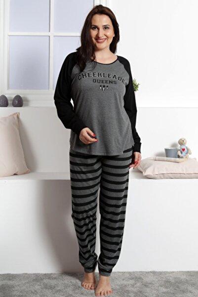 VİENETTA Kadın Gri P.Suprem Uzun Kol  Yazılı Pijama Takım