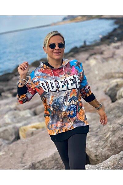 Hilal Akıncı Kids Kadın Siyah Queen Model  Sweatshirt