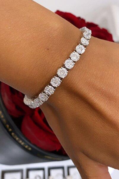 Crystal Diamond Zirconia Labaratuvar Pırlantası 28 Carat Su Yolu Bileklik