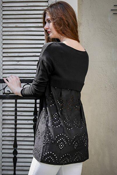 Chiccy Kadın Siyah Retro Triko Sırtı Fisto Detaylı Bluz M10010200BL95989