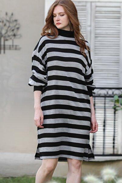 Chiccy Kadın Gri-Siyah Retro Çizgili Dev Manşetli Triko Elbise M10160000EL96251