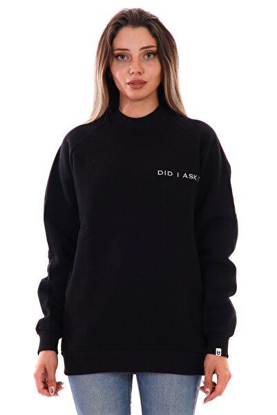 UNAGİ Kadın Siyah Did I Ask Yazılı Sweatshirt