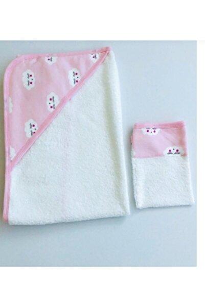 Eda Baby Kız Bebek Bulut Tema Banyo Havlu Ve Kese Ikili Takım
