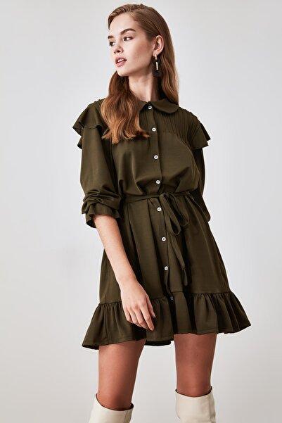 TRENDYOLMİLLA Haki Volanlı Örme Elbise TWOAW21EL1352