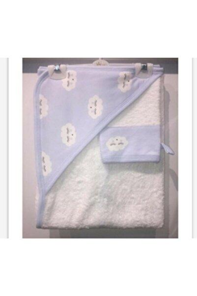 Eda Baby Erkek Bebek Bulut Tema Banyo Havlu Ve Kese Ikili Takım