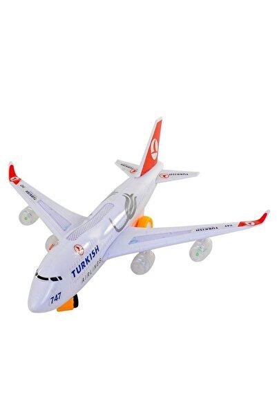 Doğru Marka Yerde Gezen Pilli Işıklı Airline Uçak 747 Ch-132tk